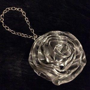 🌸NWOT Cache metallic silver rose wristlet.